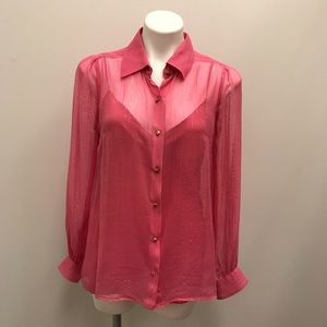 Milly of New York Pink Shimmer Stripe Blouse